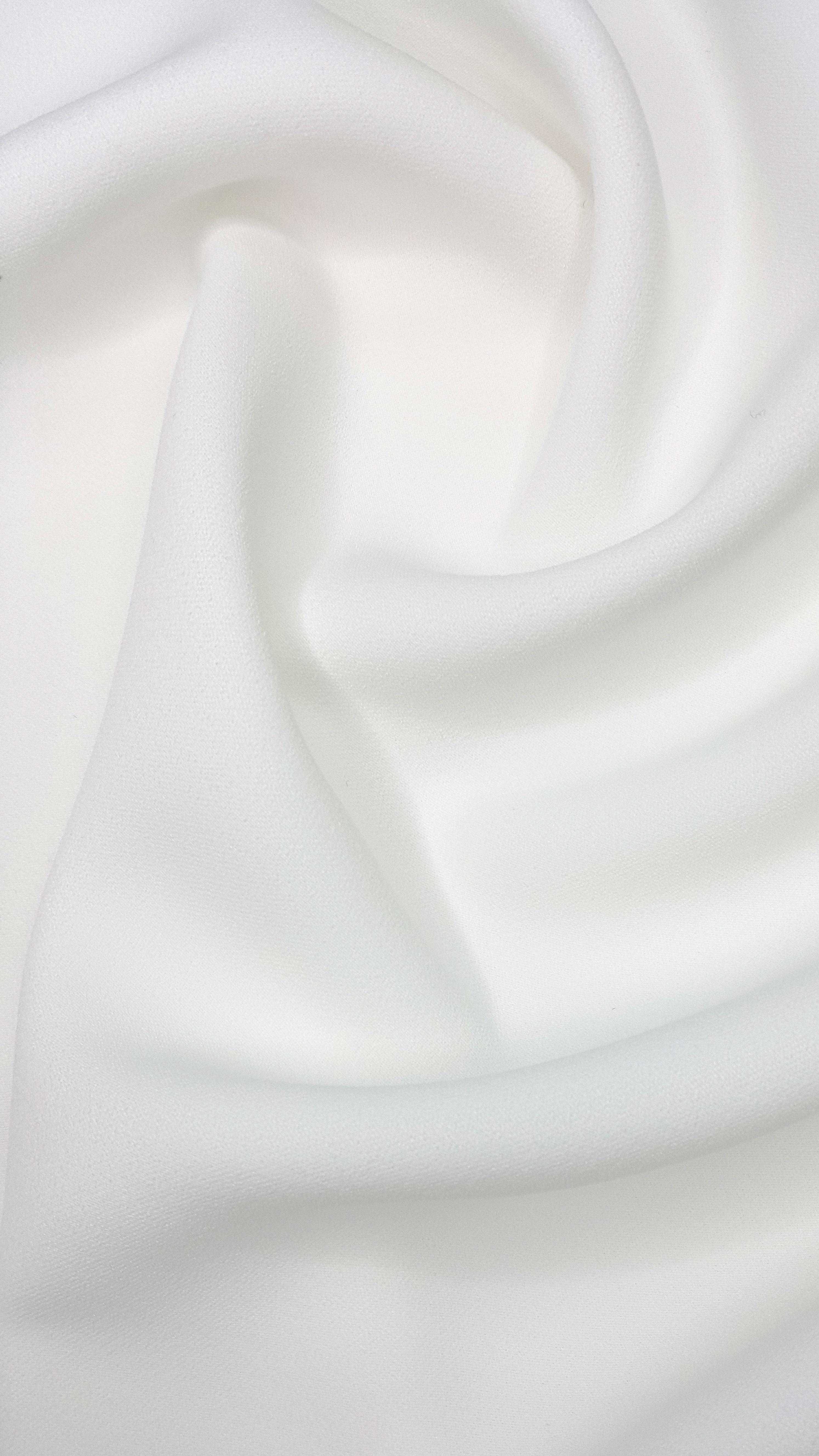 Soft White Poly Crepe