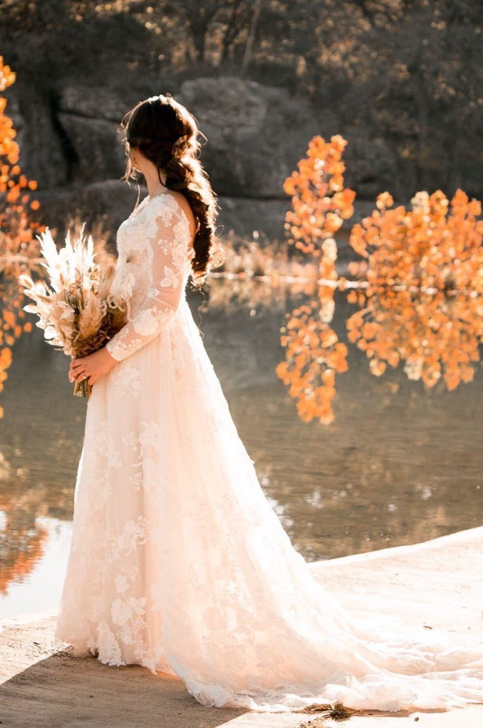 This bride designed a sheer long sleeve lace wedding dress online with Anomalie.