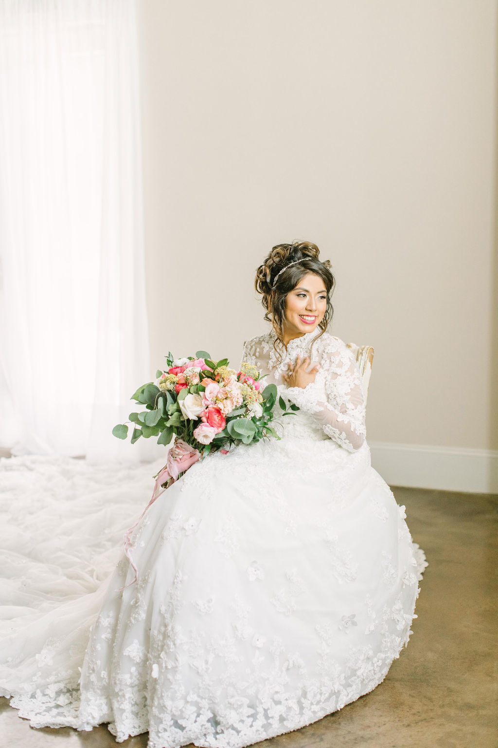 Bride are designing custom wedding dresses online with scalloped sleeves with Anomalie.