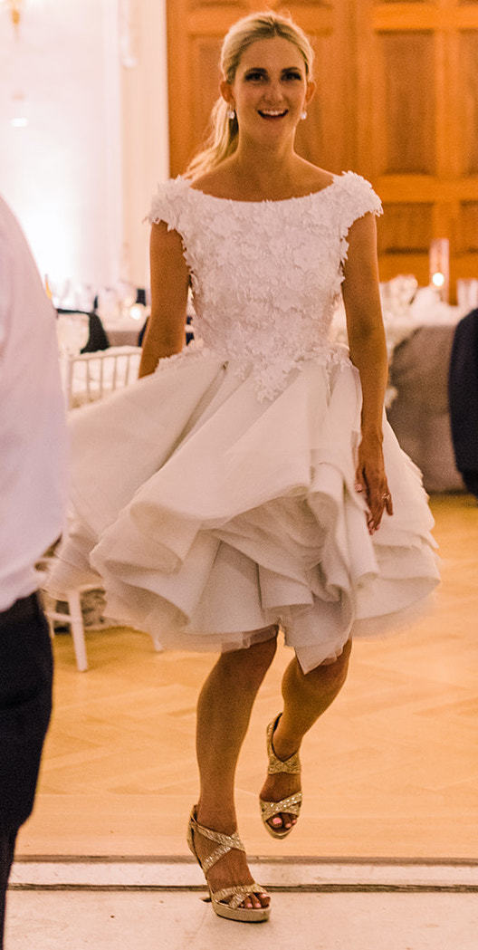 Anomalie Custom Online Wedding Dresses - Create your perfect tea-length, short, vintage dress, with floral applique and flirty tiers.