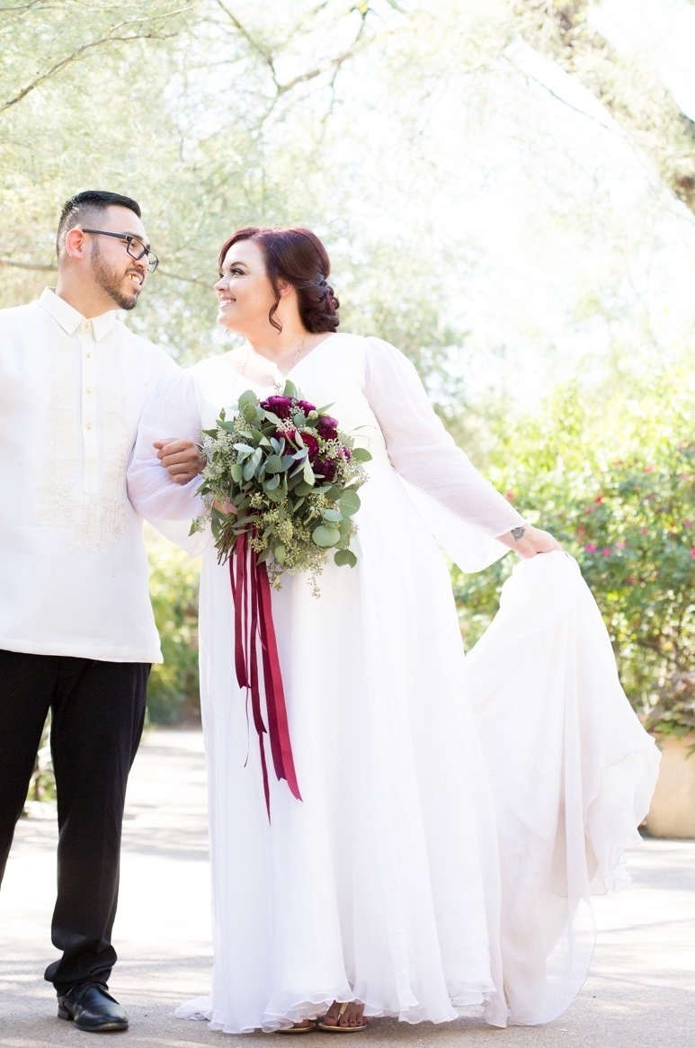 Brides are designing peasant sleeve wedding dresses online with Anomalie.
