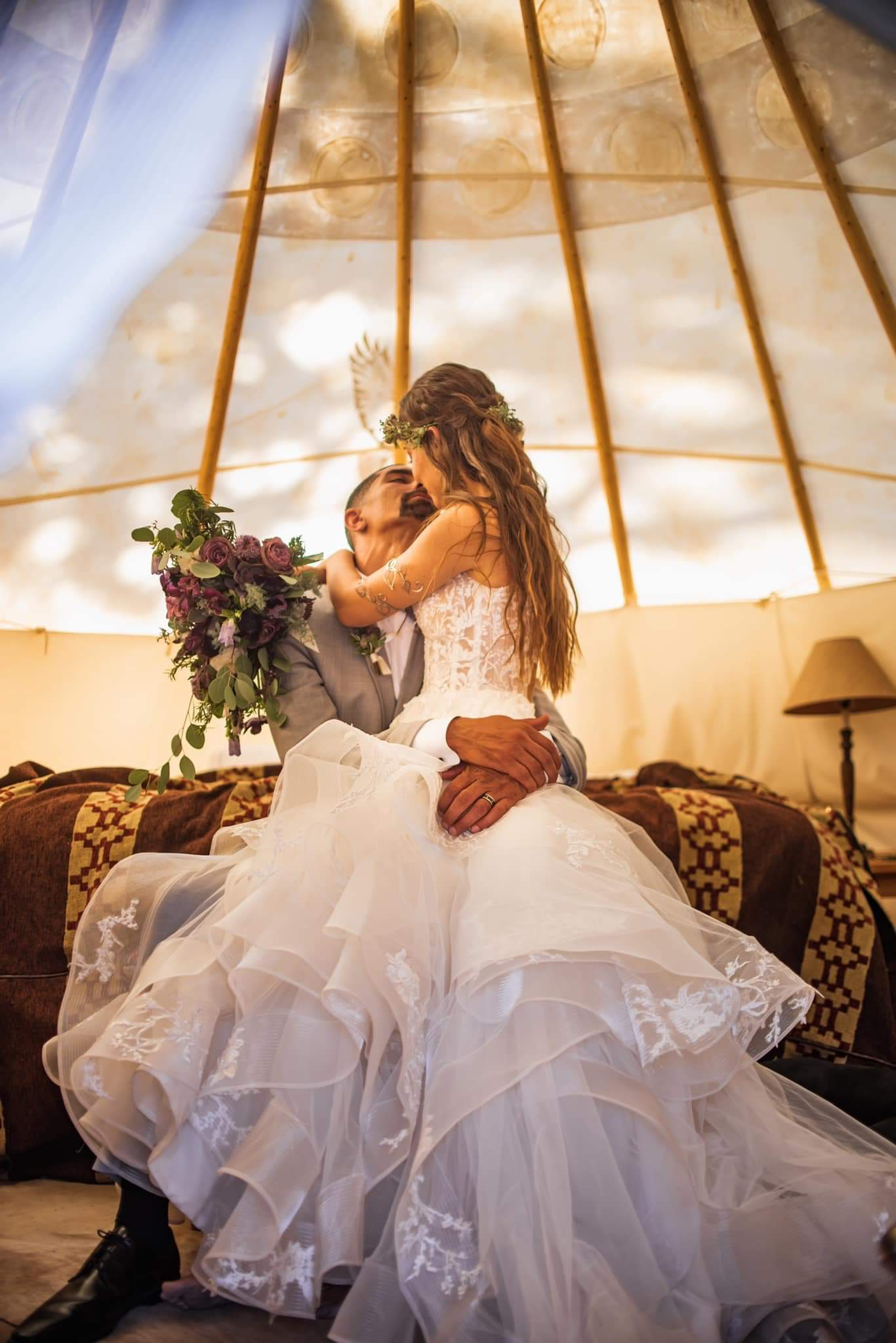 Anomalie Online Custom Wedding Dresses can create your boho dream dress with tiers, ruffles, tulle, and lace.