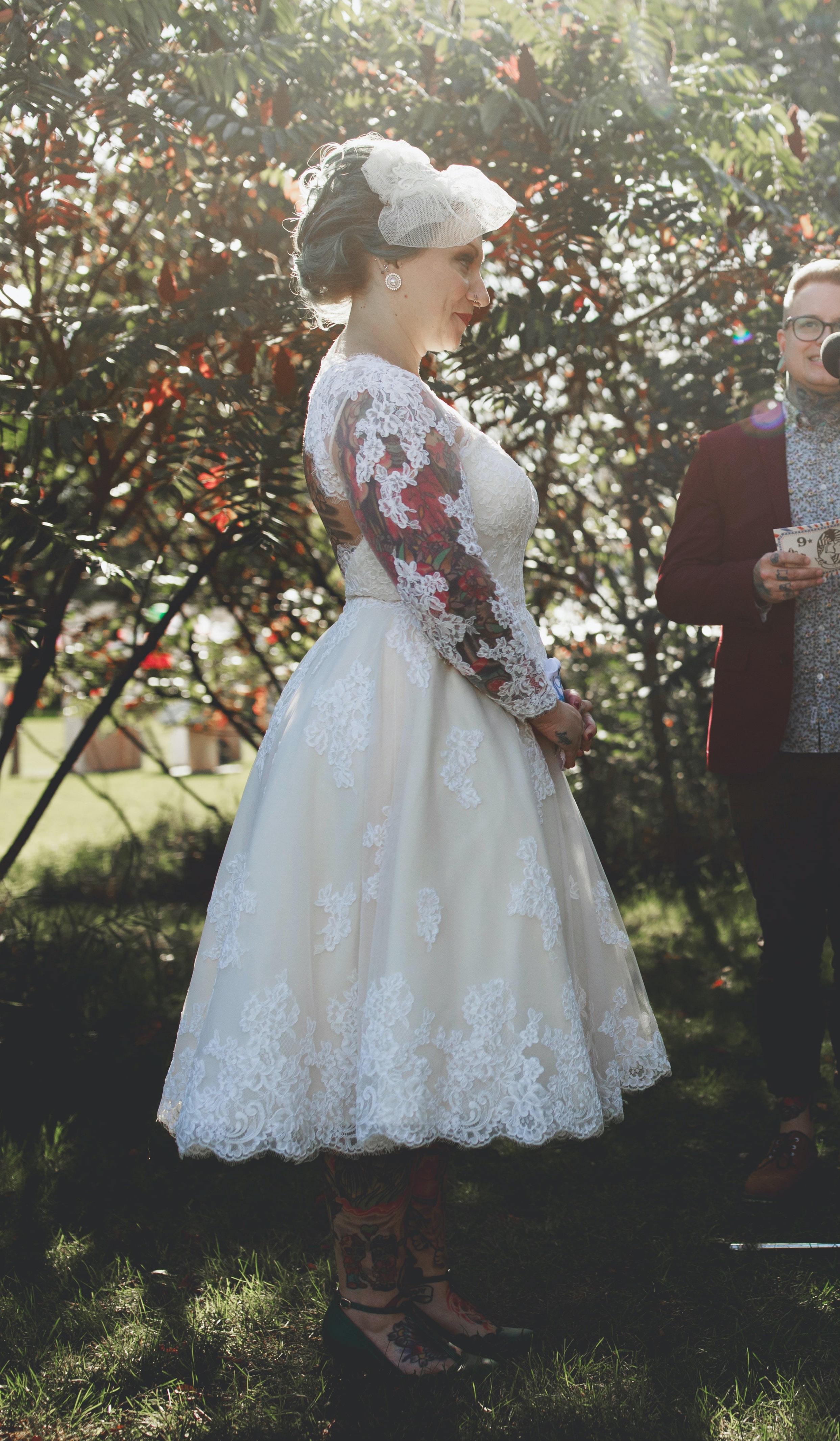 Anomalie Custom Online Wedding Dresses - Create your perfect tea-length, short, vintage dress, with floral applique and long sleeves.