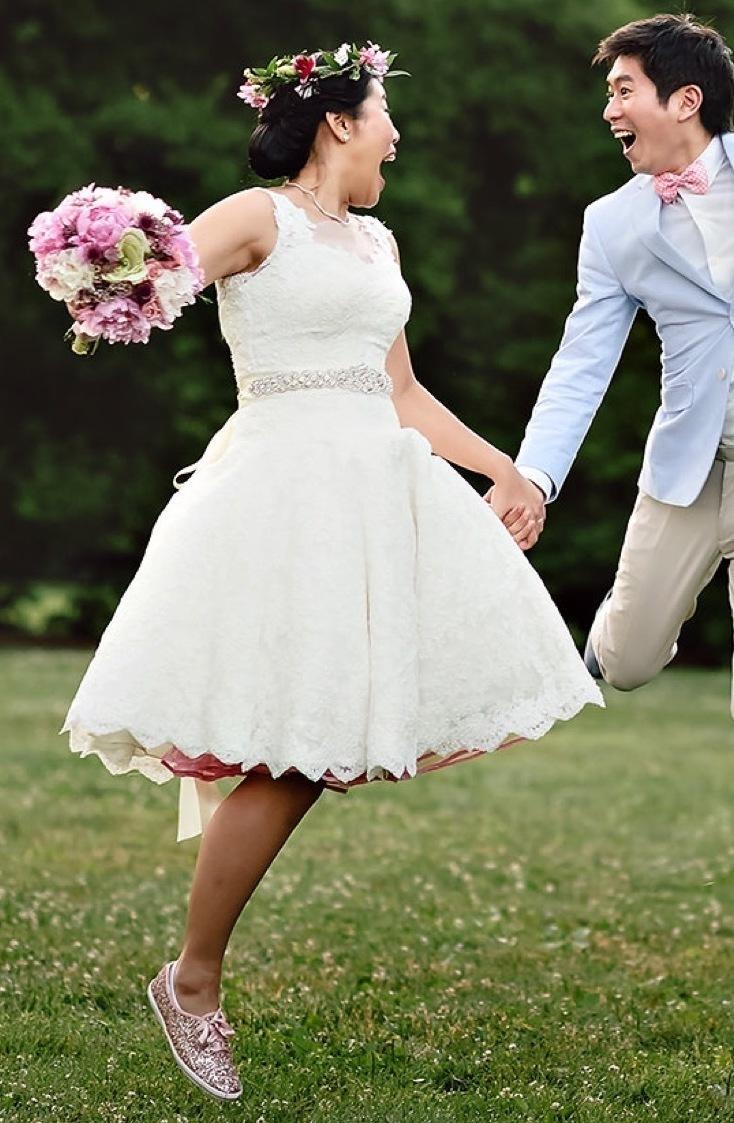 Create a knee length, flirty wedding dress with Anomalie Custom Online Wedding Dresses.