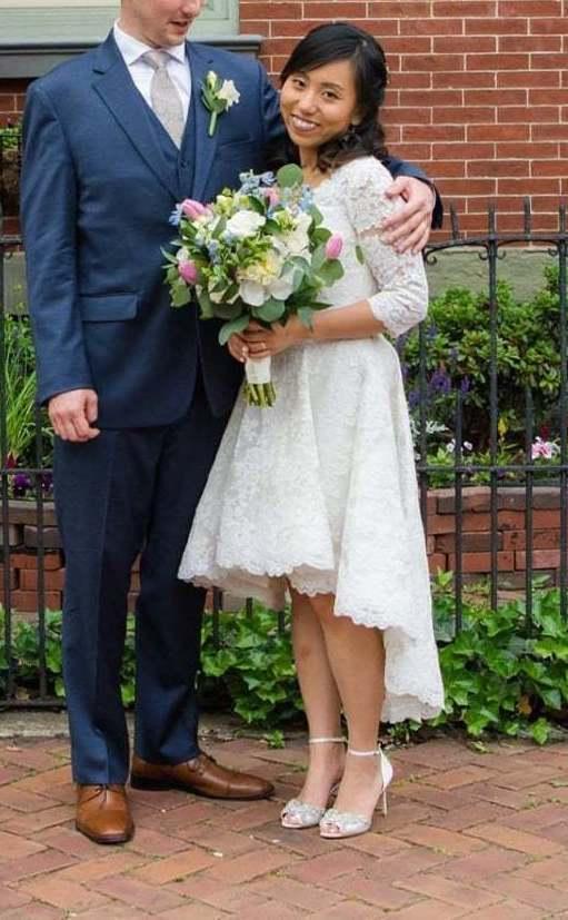 Anomalie Custom Online Wedding Dresses - Create your perfect hi-low, short, vintage dress, with floral applique.
