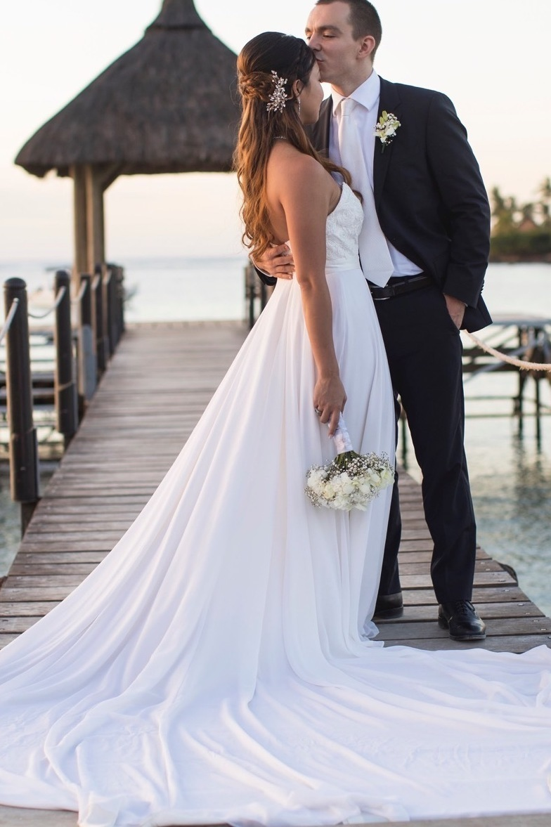 Bride customized her wedding dress with Anomalie Online Wedding Dresses with georgette fabric and a long train.