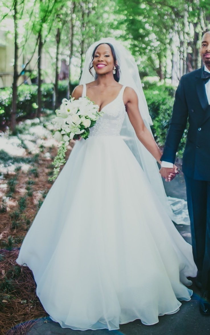 Bride customized her wedding dress with Anomalie Online Wedding Dresses with structured organza and a-line silhouette.