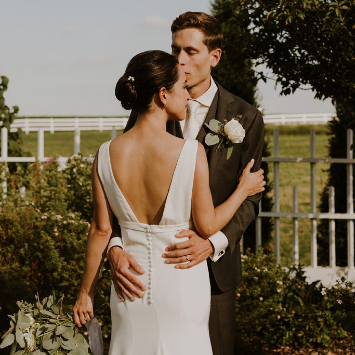 Anomalie online wedding dress crepe fit and flare gown Madison Wisconsin wedding