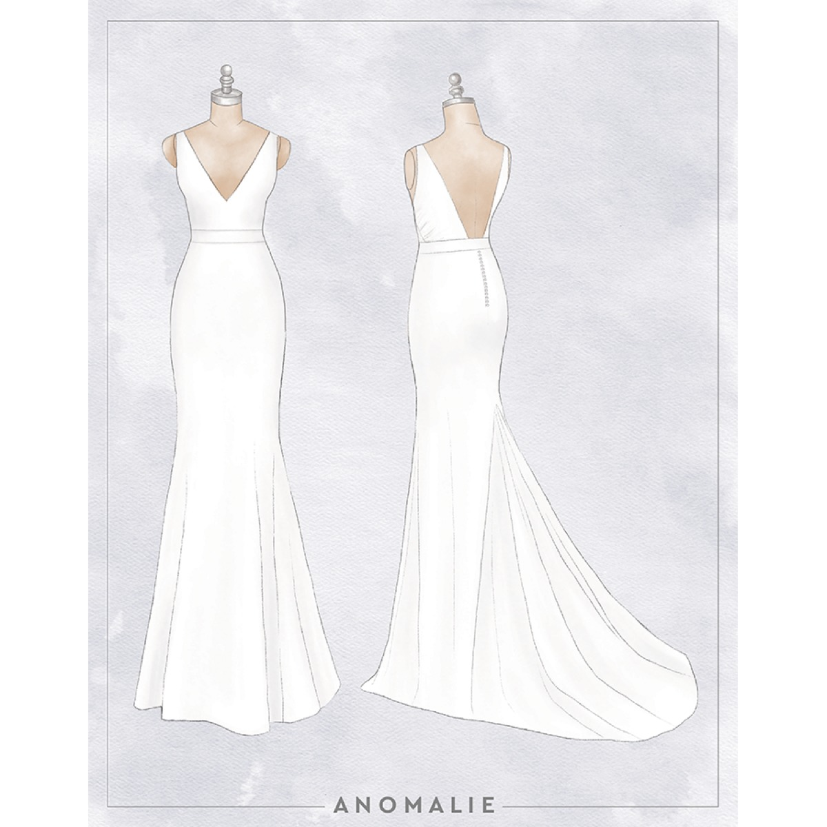 Anomalie online wedding dress sketch crepe fit and flare gown Madison Wisconsin wedding