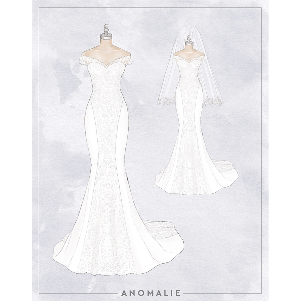 Anomalie custom designed wedding dress crepe with front lace panel and illusion neckline, short sleeve, Fiji destination wedding