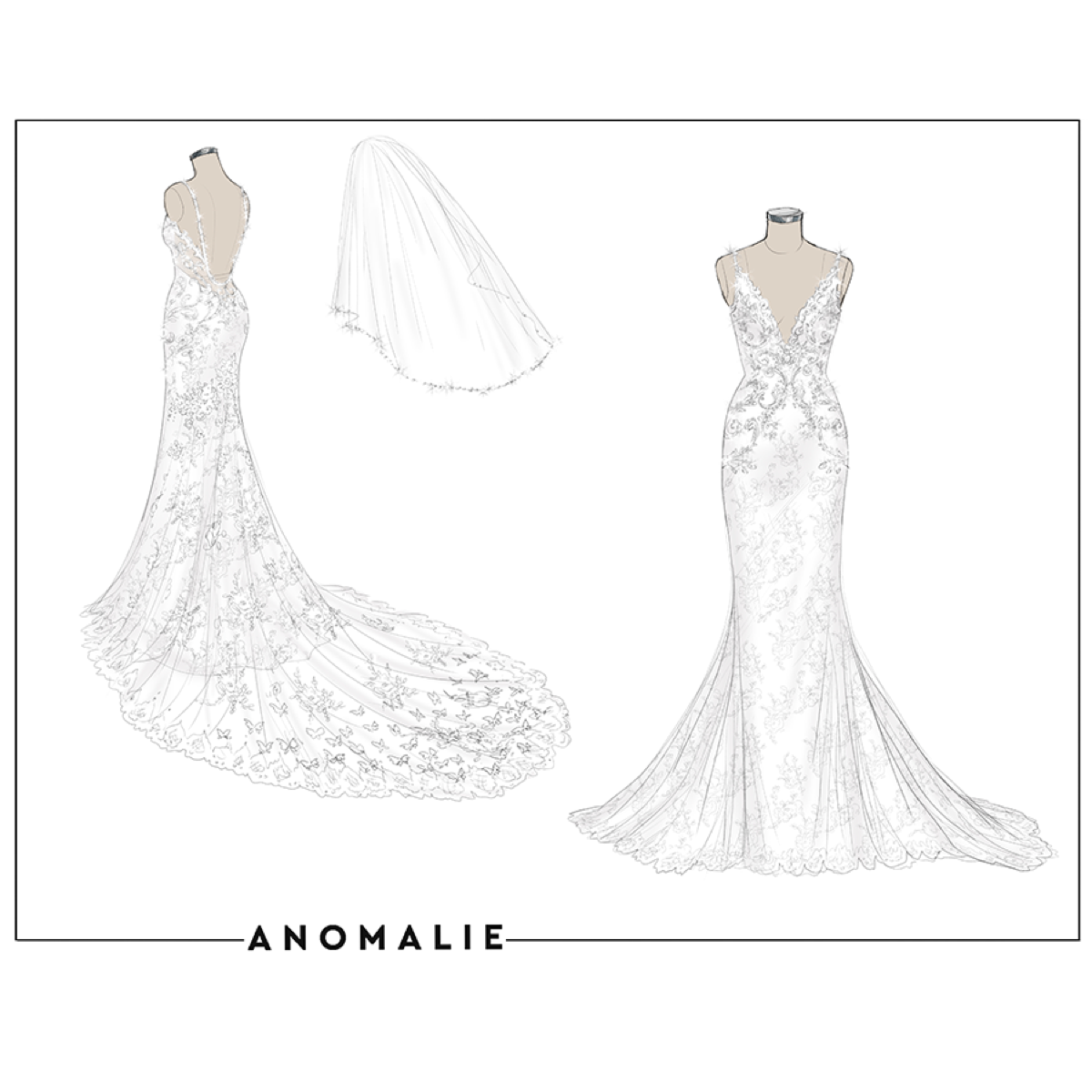 Anomalie custom design wedding dress fit and flare lace, custom beading, unlined train