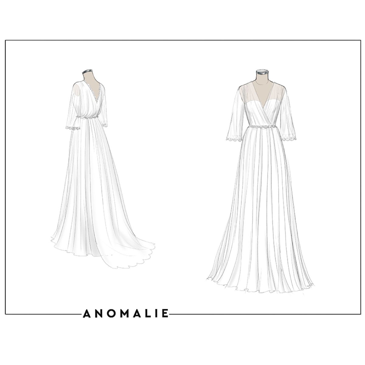 long angel sleeves georgette Anomalie custom wedding dress with lace trim