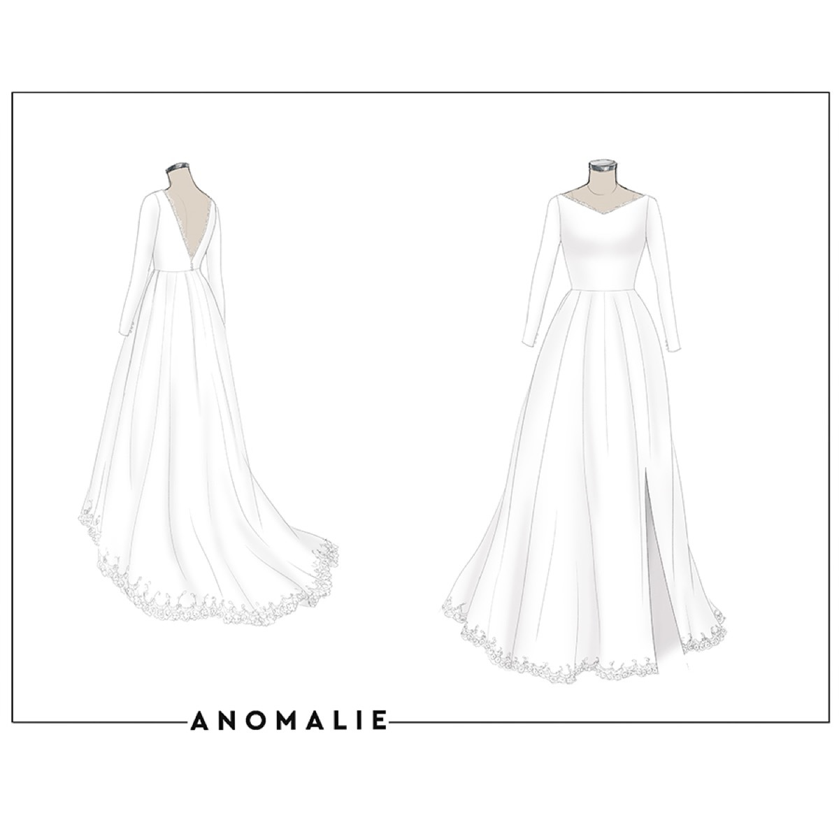 Anomalie custom soft white silk georgette wedding dress with long sleeves