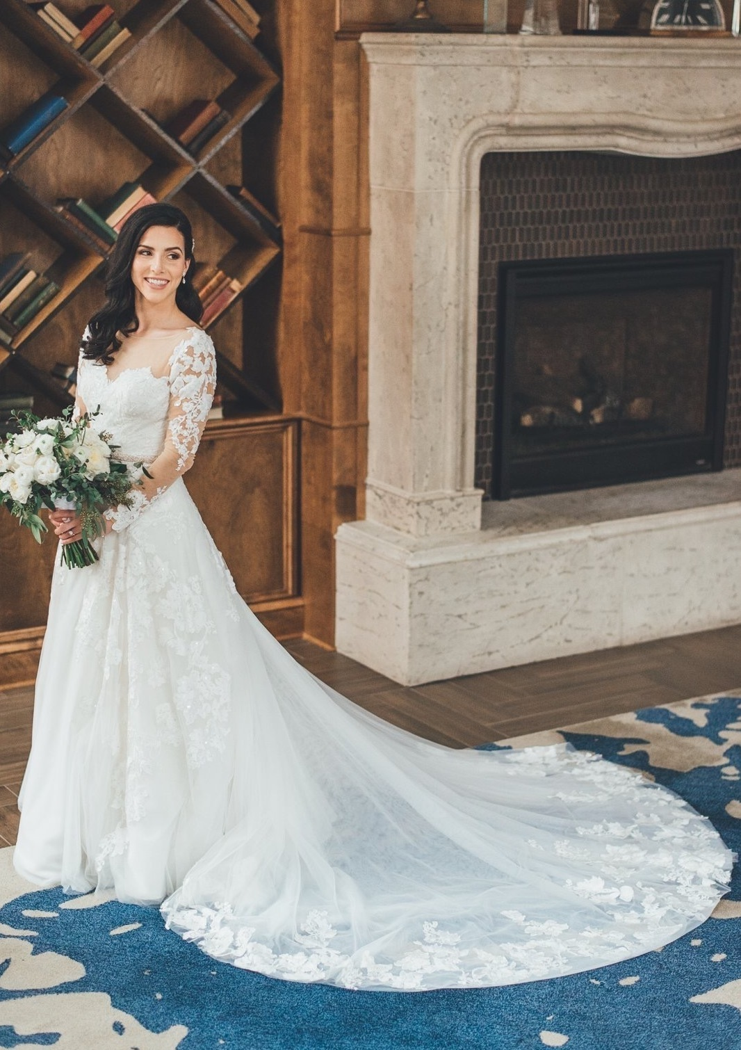 This bride designed a long sleeve lace wedding dress online with Anomalie.