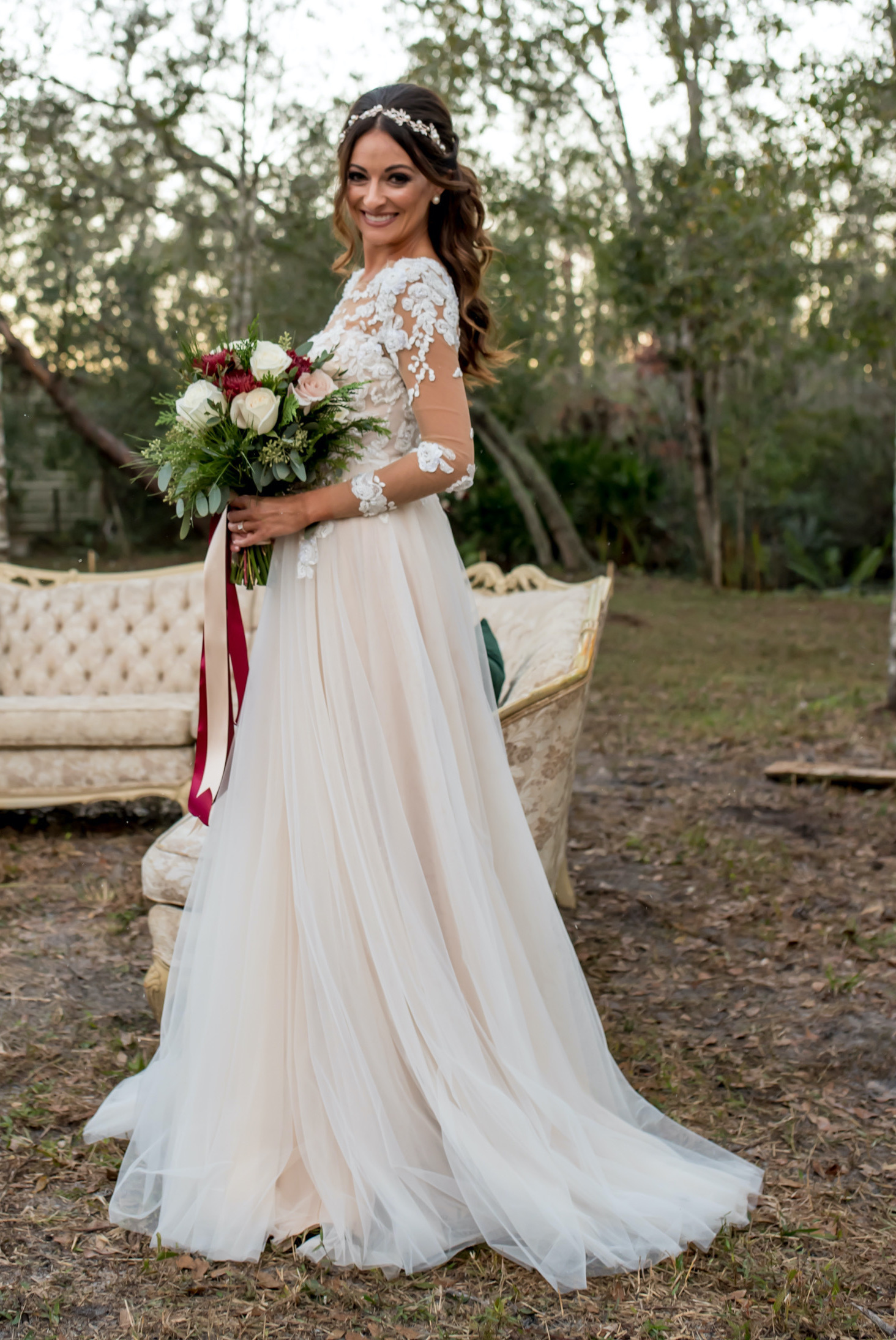 Bride customized her wedding dress with Anomalie Online Wedding Dresses with skin toned illusion mesh, long sleeves, and blush fabric.