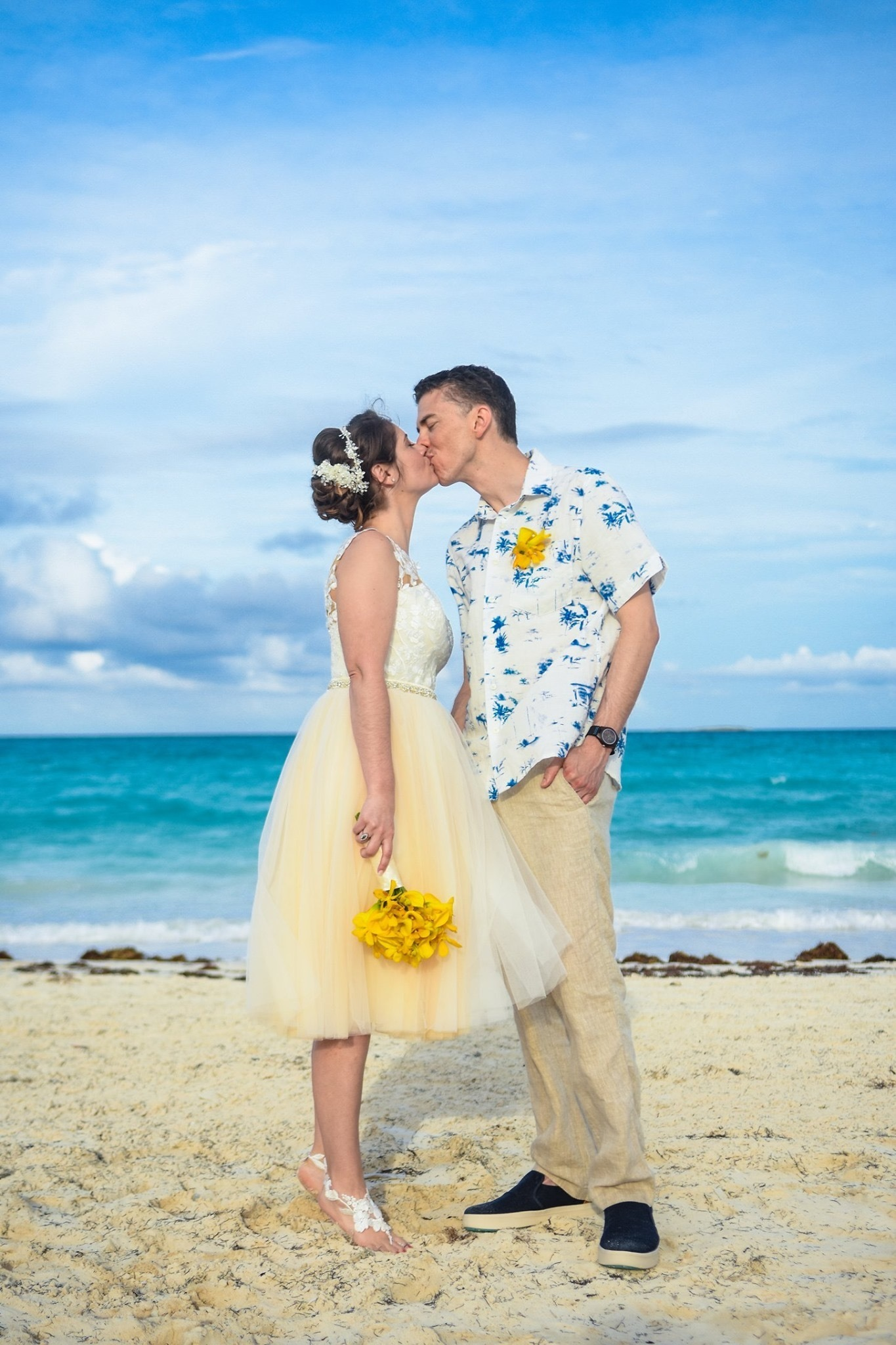 Anomalie Custom Online Wedding Dresses - Create your perfect tea-length, short, vintage dress, with floral applique perfect for a beach wedding.