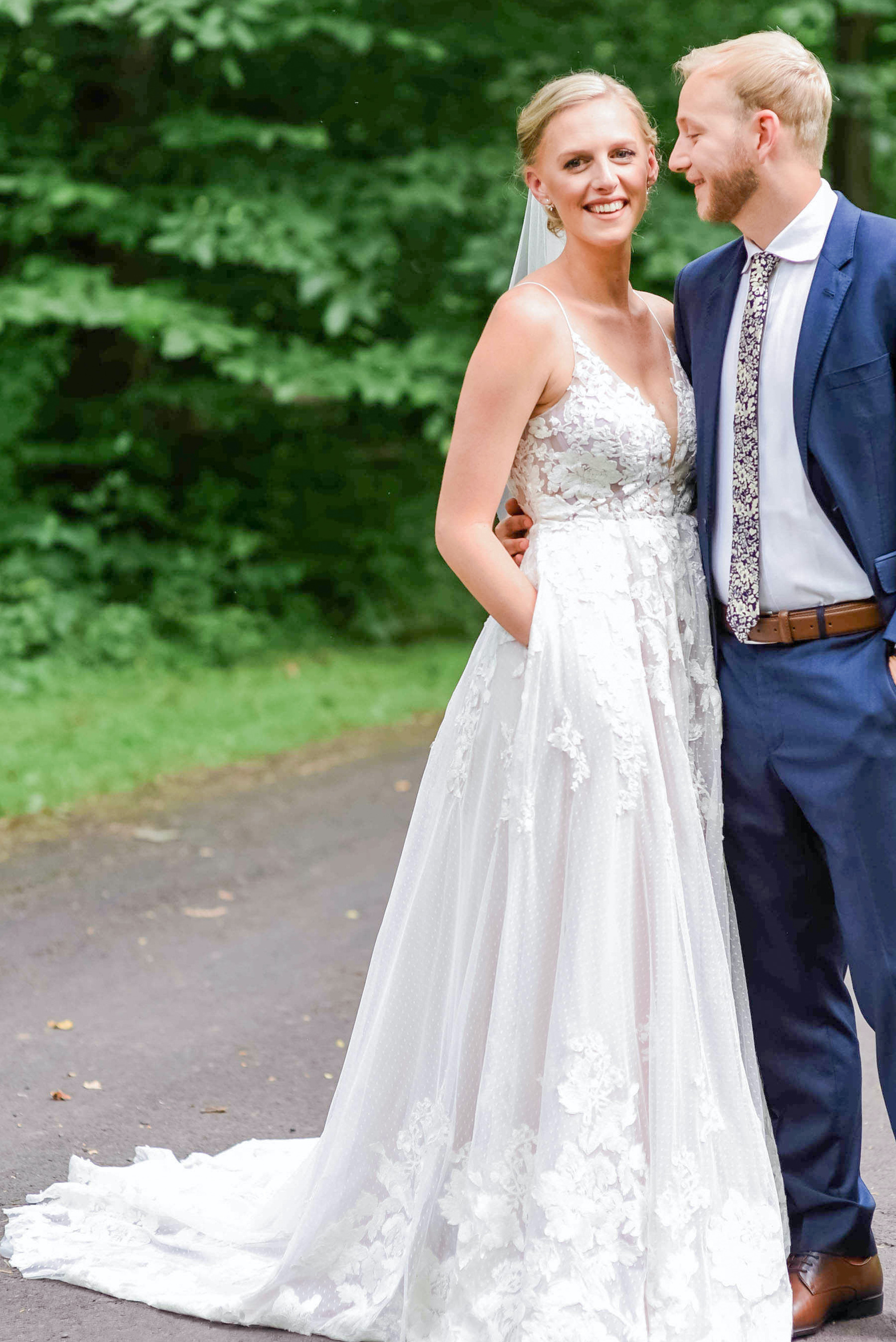 Bride customized her wedding dress with Anomalie Online Wedding Dresses with purple fabric and pockets.